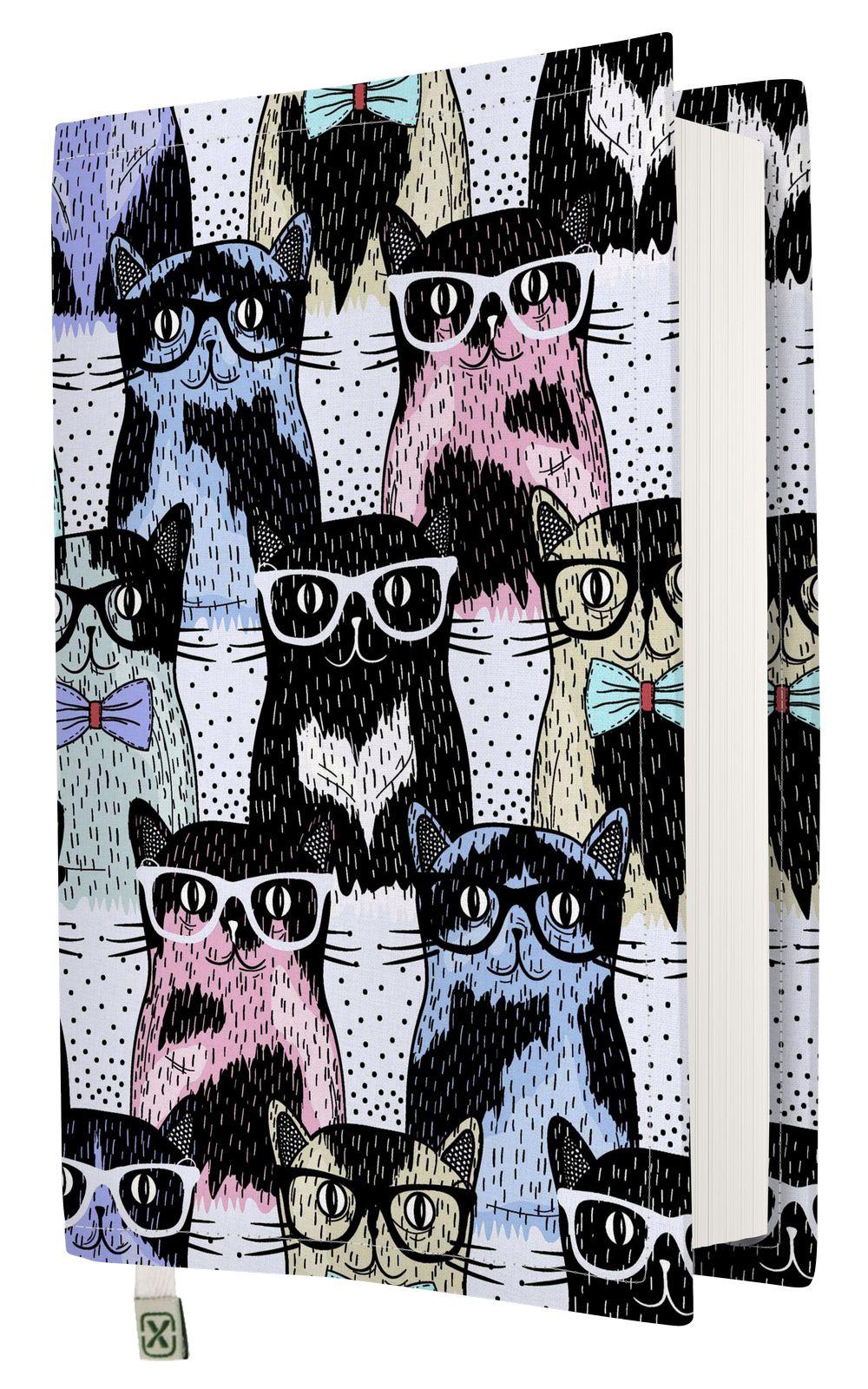 Kapax Kitap Kılıfı - Gözlük Kedi - M - 31x21cm