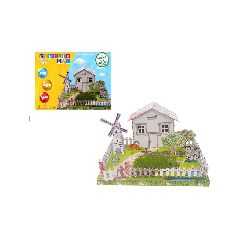 Çiftlik Evi Karton Maket (Gerçek Çim - Gerçek Toprak)